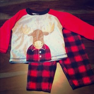 Buffalo check moose fleece pajamas